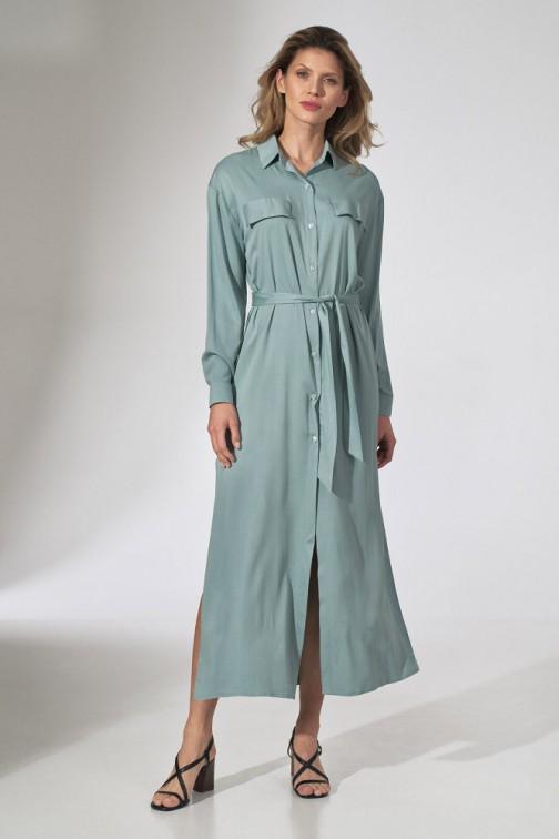 CM5808 Koszulowa sukienka maxi - miętowa