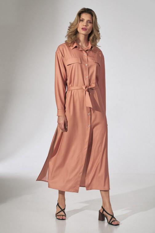 CM5808 Koszulowa sukienka maxi - pomarańczowa