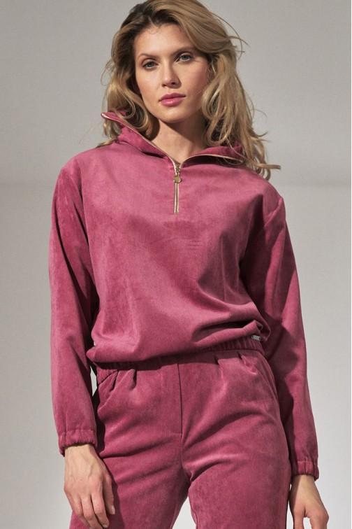 CM5809 Bluza sztruksowa ze stójką - różowa