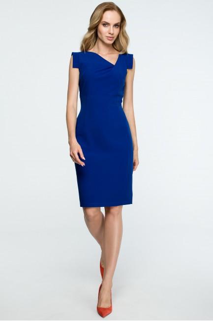 Dopasowana sukienka bez rękawów - chabrowa