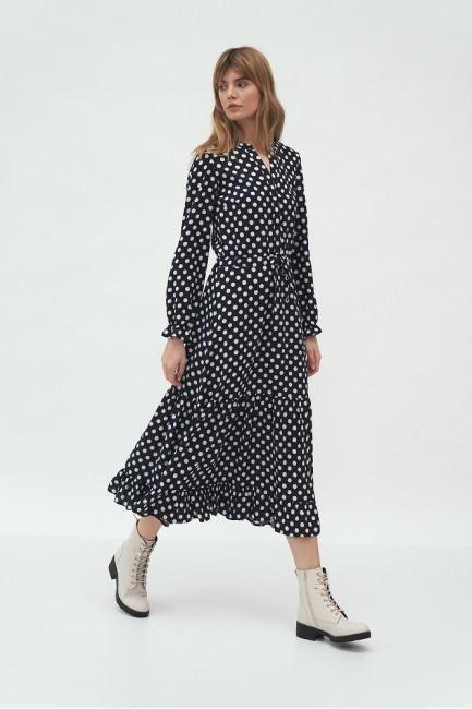 CM5826 Sukienka maxi w grochy