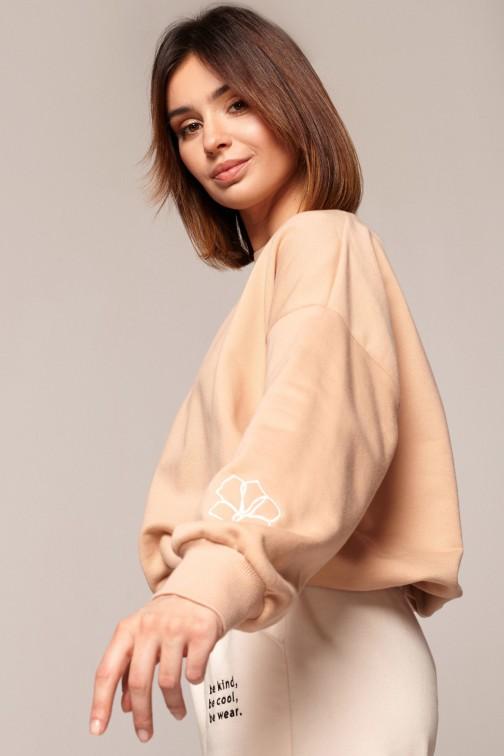 CM5845 Bluza z dekoltem na plecach - beżowa