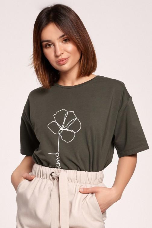 CM5847 Klasyczny t-shirt z nadrukiem - militarno-zielony