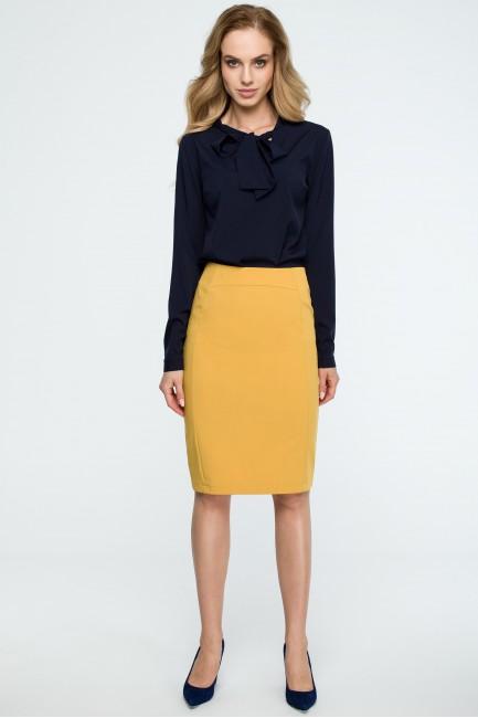 Prosta ołówkowa spódnica biurowa - żółta