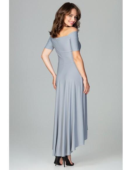 Asymetryczna sukienka wieczorowa z falbanami - szara