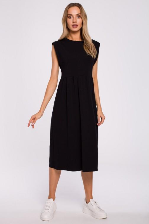 CM5872 Sukienka midi z ozdobnymi rękawami - czarna