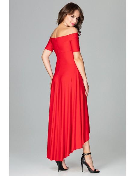 Asymetryczna sukienka wieczorowa z falbanami - czerwona