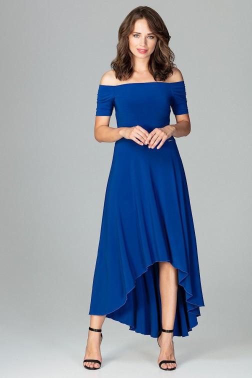 Asymetryczna sukienka wieczorowa z falbanami - szafirowa