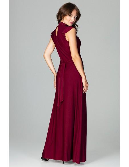 Rozkloszowana sukienka maxi - bordowa