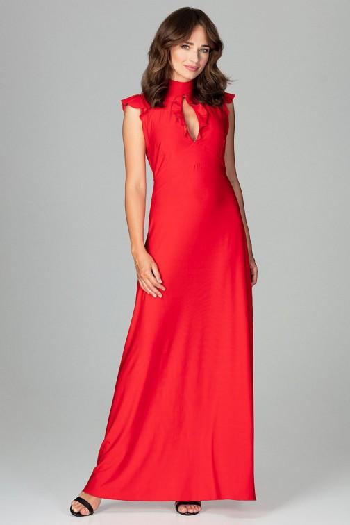 CM3852 Rozkloszowana sukienka maxi - czerwona