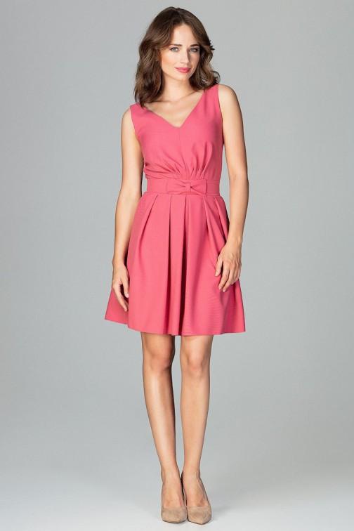 CM3853 Koktajlowa sukienka mini z pasem - koralowa