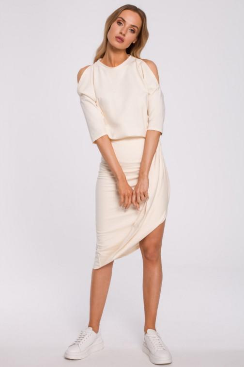 CM5880 Sukienka z wycięciami na ramionach - śmietankowa