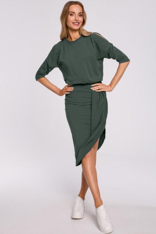 CM5880 Sukienka z wycięciami na ramionach - militarno-zielona