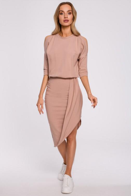 CM5880 Sukienka z wycięciami na ramionach - mocca