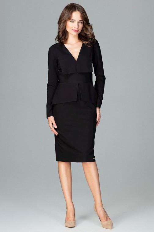 CM3856 Komfortowa sukienka z długim rękawem - czarna