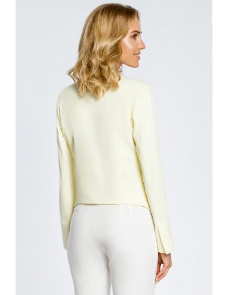 Krótki żakiet marynarka damska narzutka - żółty