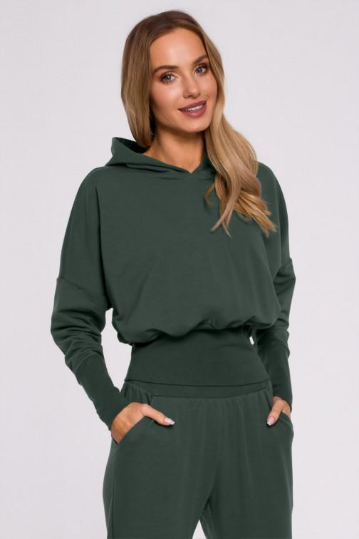 CM5883 Bluza z kapturem i wysokim ściągaczem - militarno-zielona