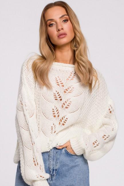 CM5891 Sweter z ażurowym...