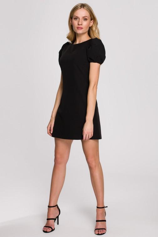CM5896 Sukienka mini z krótkimi rękawami - czarna