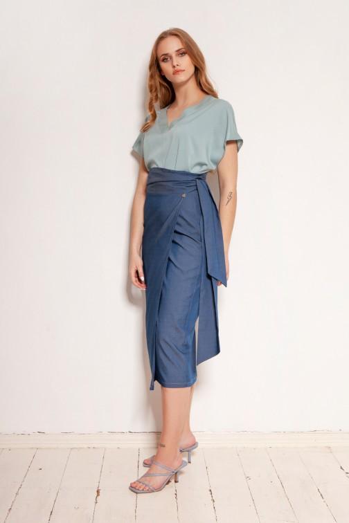 CM5911 - Ołówkowa spódnica za kolano - jeansowa