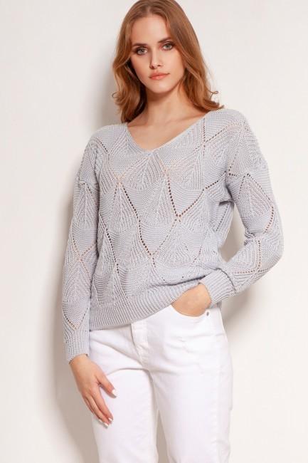 CM5921 Luźny ażurowy sweter...