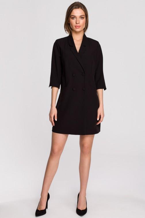 CM5932 Sukienka żakietowa z paskiem - czarna