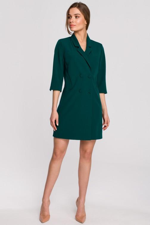 CM5932 Sukienka żakietowa z paskiem - zielona