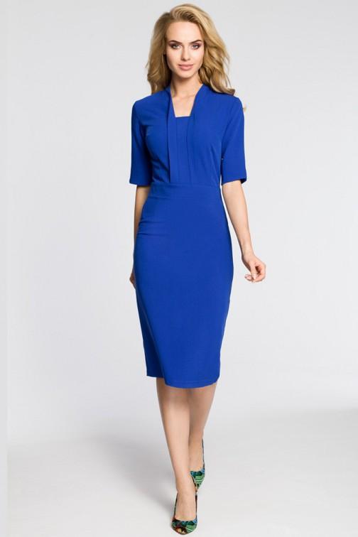 CM3041 Sukienka ołówkowa z dekoltem szalowym - chabrowa