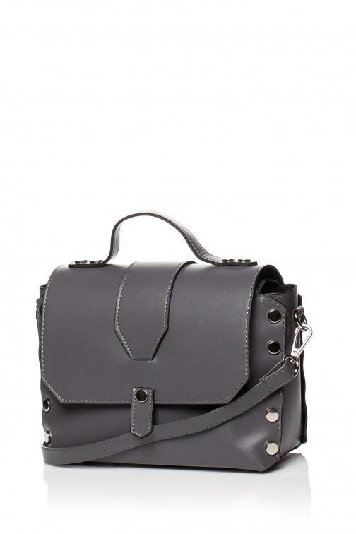 CM3573 Mała zapinana torebka z paskiem - grafitowa