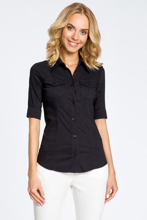 Klasyczna taliowana koszula mankiety - czarna