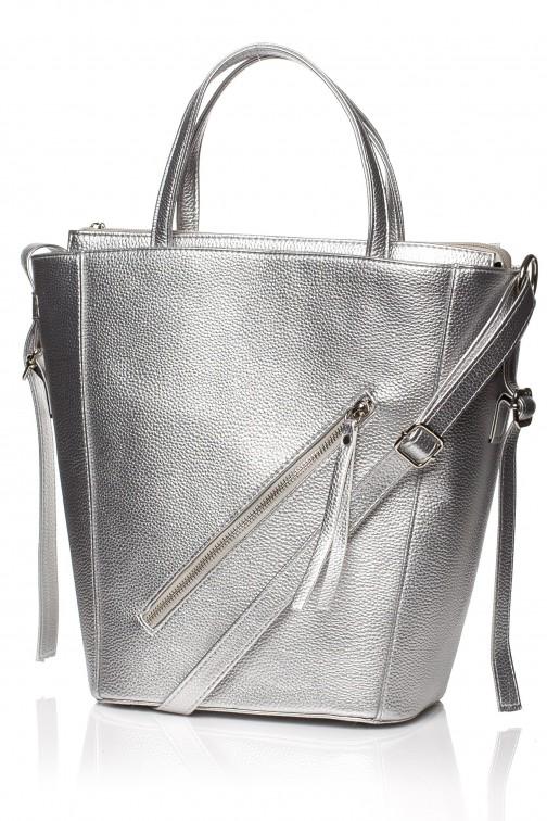 CM3830 Klasyczna torebka na ramię - srebrna