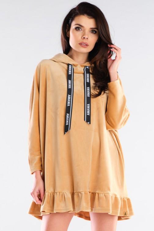 CM6008 Welurowa bluza oversize z falbanką - beżowa