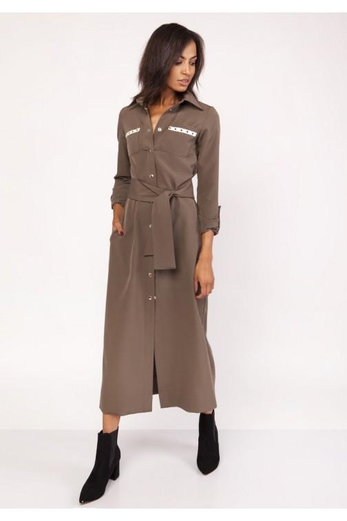 Długa militarna sukienka - khaki