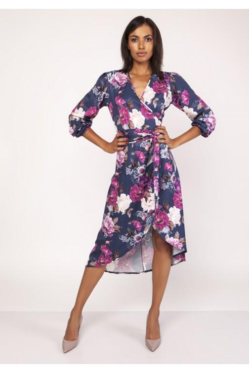 CM3881 Asymetryczna kopertowa sukienka - kwiaty