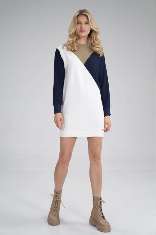 CM6048 Prosta bawełniana sukienka - beżowo-granatowo-ecru
