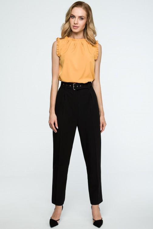 Spodnie z wysokim stanem i paskiem - czarne