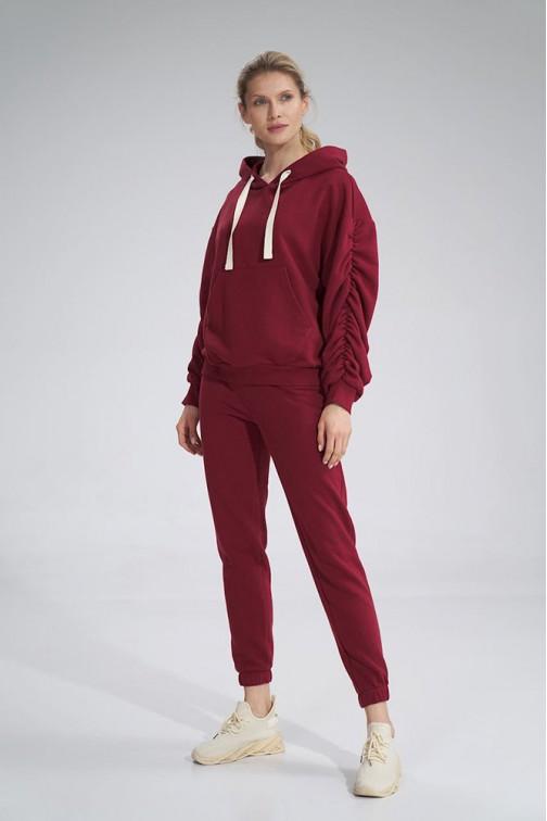 CM6050 Bawełniane spodnie dresowe - bordowe