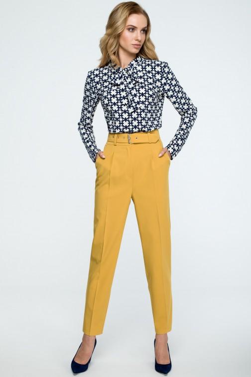 CM3842 Spodnie z wysokim stanem i paskiem - żółte