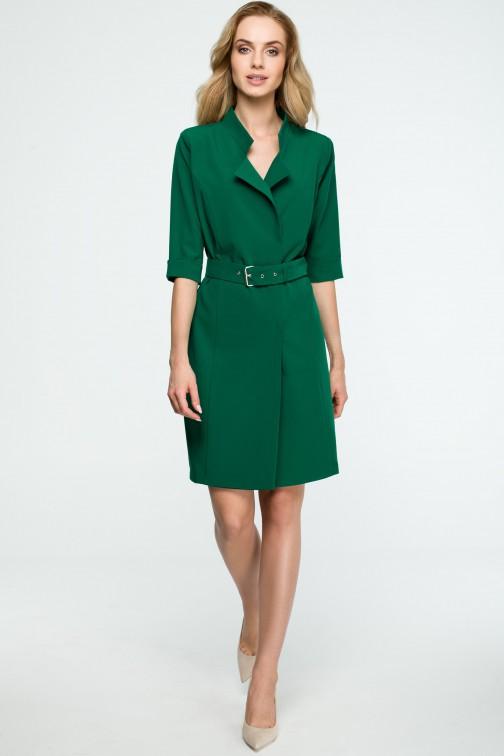 CM3838 Sukienka żakietowa z paskiem - zielona