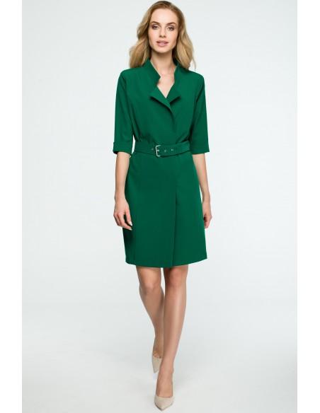 Sukienka żakietowa z paskiem - zielona