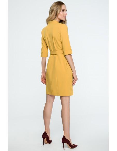 Sukienka żakietowa z paskiem - żółta