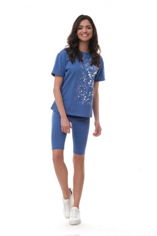 CM6058 Klasyczny dresowy t-shirt - chabrowy