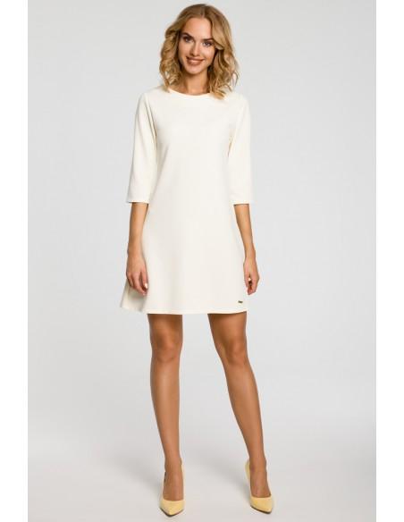 Gładka tunika sukienka trapezowa - ecru