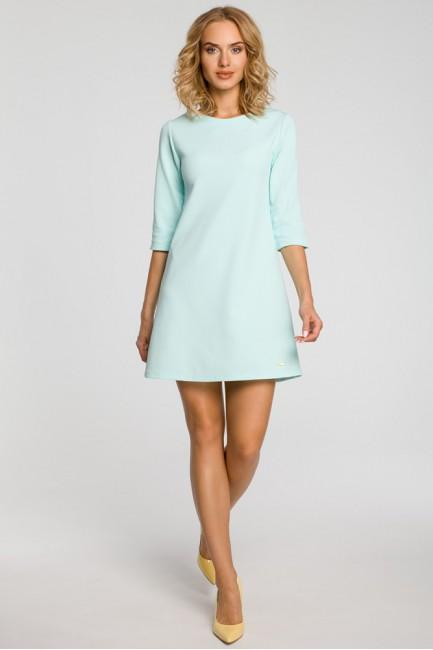 Gładka tunika sukienka trapezowa - miętowa