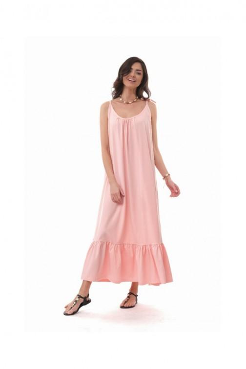 CM6079 Bawełniana sukienka maxi na ramiączkach - pudrowo-różowa