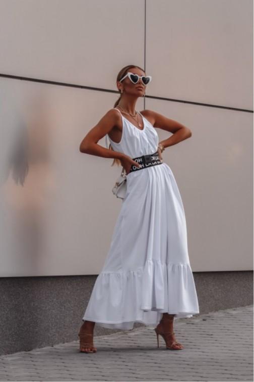 CM6079 Bawełniana sukienka maxi na ramiączkach - biała