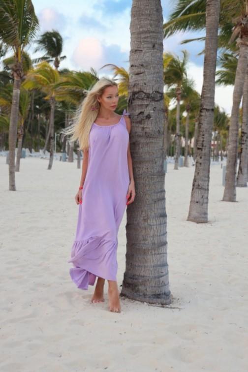 CM6079 Bawełniana sukienka maxi na ramiączkach - lila