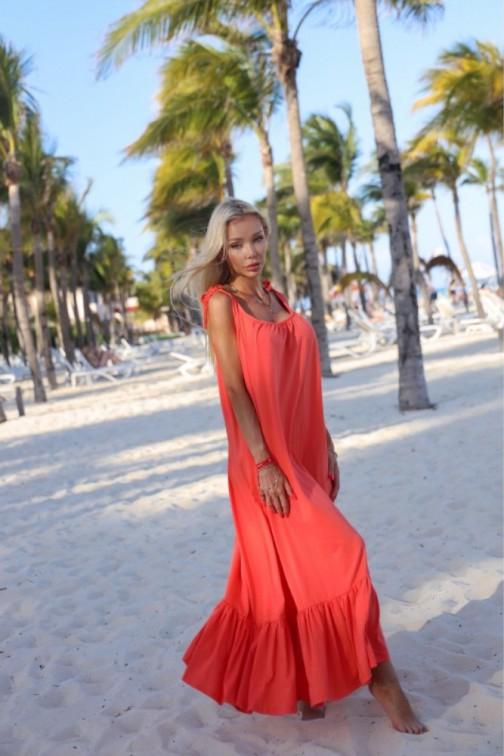 CM6079 Bawełniana sukienka maxi na ramiączkach - koralowa