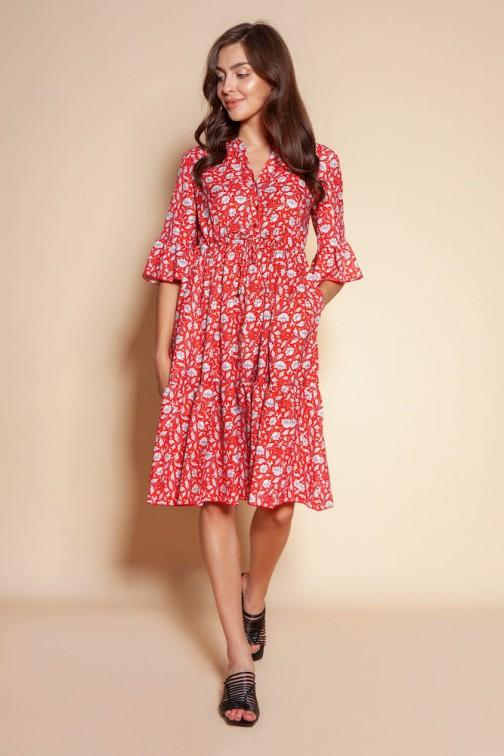 CM6091 Sukienka z falbanami i troczkiem w pasie - czerwony wzór