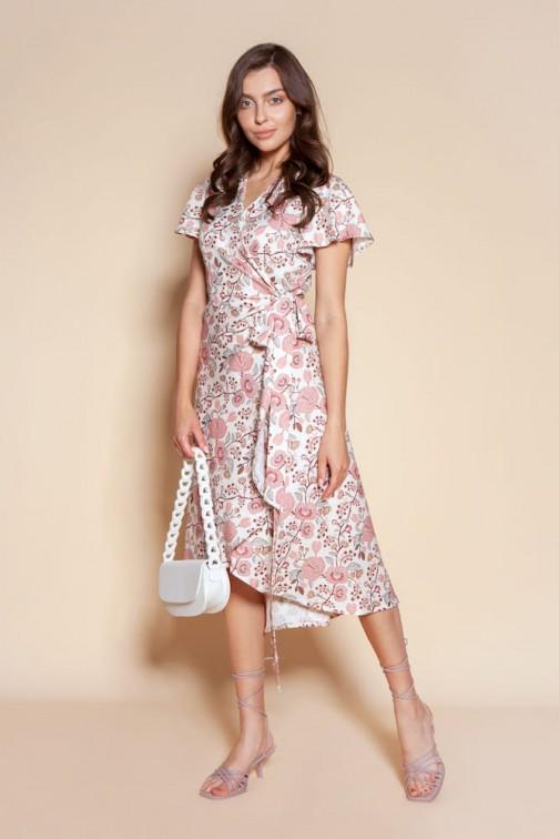 CM6092 Kopertowa sukienka z asymetrycznym dołem - różowy wzór